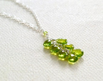 Orchard Necklace - peridot necklace, green gemstone necklace, apple green peridot necklace, august birthstone, handmade tendril necklace
