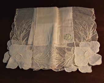 Vintage Hankie Linen Embroidered Net Lace, Original Desco Label, Cream White, bride wedding