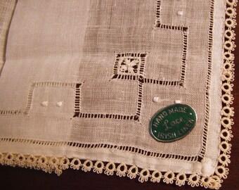 Vintage Hankie Irish Linen Tatted Lace, Drawnwork, Original Condition, Label, Warm White, bride wedding