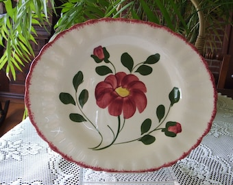 Platter, Southern Blue Ridge Red Nocturne, Medium Oval, Vintage American Dinnerware, unmarked