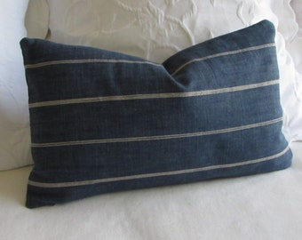 Rustic Woven blue in cream stripes  decorative lumbar pillow with insert 12x20