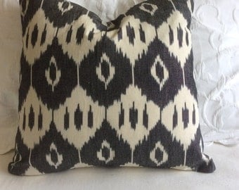 Ikat woven decorative pillow cover 20x20 black and cream