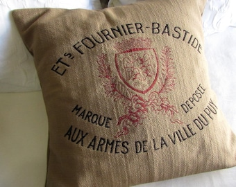 FRENCH country CREST  Pillow burlap color 22x22 includes insert