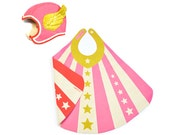 Flying Super Hero Costume Pink, Child Costume, Superhero Hat & Cape, Pink Wing Hat and Cape
