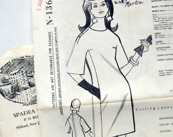 1960s Vintage Sewing Pattern - Spadea N-1364 - Martini - Designer Pattern Cocktail Dress with Concealed Pockets / Size 12 UNCUT FF