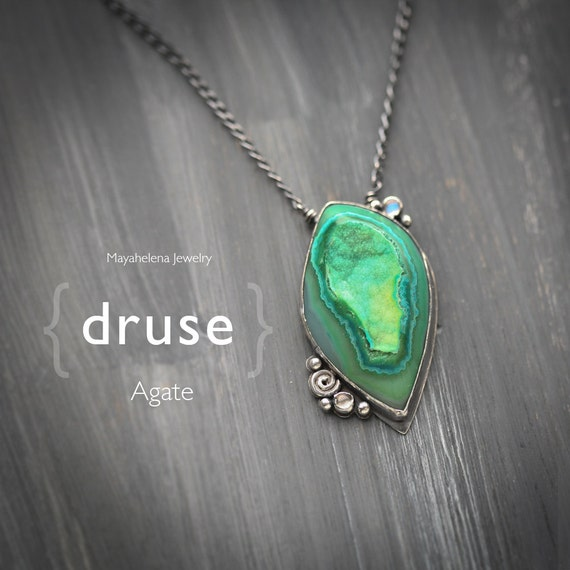 Druse - Green Agate Druzy and Moonstone Accents Sterling Silver Pendant
