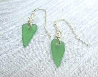 Kelly Green Sea Glass Single Drop Earrings on Sterling Silver