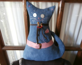 RECYCLED DENIM Country CAT Ooak Cat Pillow with pocket hankie and belt