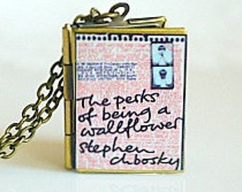 The Perks of Being A Wallflower, Stephen Chbosky, Coming of Age Novel, High School Book, New York Times Best Seller, Book Locket Necklace