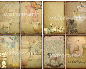 Baby Cards Tags Vintage Aged Look 2 Sizes 3 Sheets Digital Collage Graphics Instant Digital Download