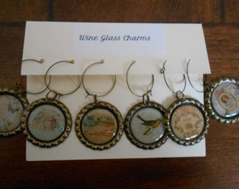 Victorian Flair-Wine Glass Charms-Set of six (6)