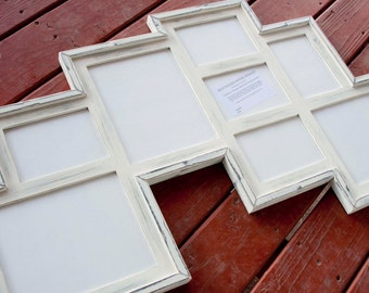MULTI 8 Opening distressed rustic collage picture frame with 3) 8x10's  & 5) 5x7's ...Navajo White....HANDMADE
