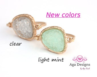 Wedding jewelry - Druzy ring 14kt gold filled - custom size - pick your color