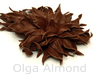 Fantasy brown  brooch.Truffle .Leather flower. Leather brooch . Fantasy Leather jewelry