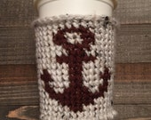 Crochet Coffee Cozy with Anchor Design - Coffee Sleeve - Tapestry Crochet