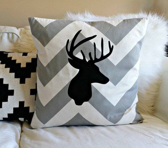 Deer Silhouette Pillow Cover Large Scale Chevron Grey and