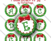 SALE - Christmas Wreath Glitter Bottle Cap Images Bow Bling 1 Inch Circle A-Z 4x6 Alphabet Alpha - Instant Download - BC529