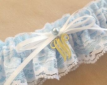 White Lace Bridal Garter Personalized Something Blue Elegant Pearl Accent Wedding Garter