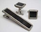 Moonlight - Mens Stained Glass Cuff Link and Tie Bar Clip Set