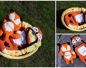 Crochet Fox Cocoon and Personalized Stuffie, Baby, Photo Prop, Custom Order