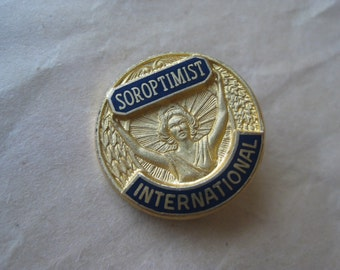 Soroptimist International Pin Brooch Enamel Black Gold Vintage