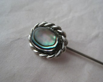 Abalone Shell Stick Pin Silver Vintage Oval