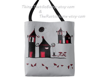 Poppytown tote bag 18x18 large reusable shopping bags black cats owls full moon houses poppies floral tote kitty cat tote owls made to order