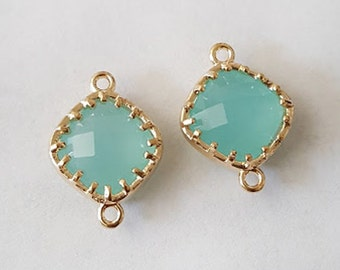 18x13mm Faceted Seafoam Blue Chalcedony Gold framed Glass Connector metal findings - 2pcs