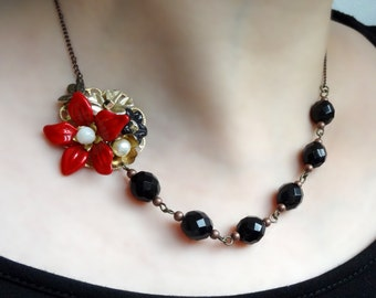 Roxanne  - secret garden series black and red tango coloured necklace with vintage parts