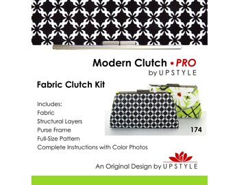 Modern Clutch - PRO Fabric Clutch Kit by UPSTYLE - Black White Modern Fabric - From Daisy Splash Collection by Jane Dixon