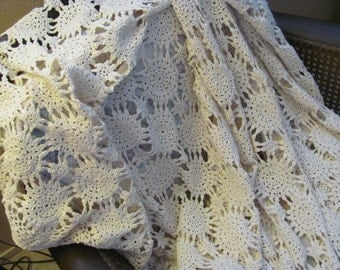 Vintage Oval  Crocheted Tablecloth or Bedding ,wavy scalloped edge