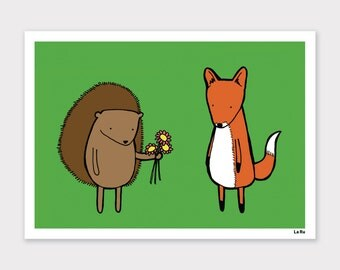 Hedgehog and Fox Print