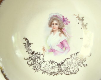 Vintage Porcelain Portrait Bowl with Gold Rim