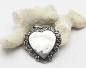 Large Sterling Heart Locket Floral Pendant C7107
