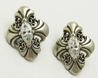 Sterling Rhinestone Earrings Signed Kabana Marquise Jewelry E7466