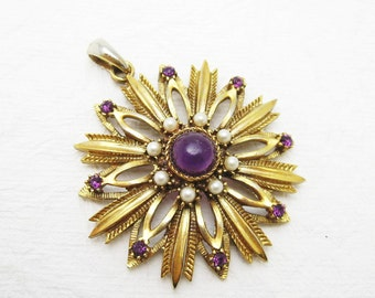 Large Flower Pendant Purple Pearl HMS Jewelry C6913
