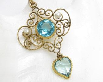 Edwardian Heart Pendant Pearl Blue Glass Antique Jewelry N7214