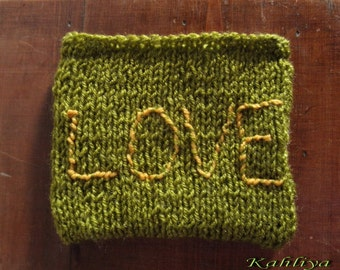Soft Green Hand knitted, Mini Love Pouch
