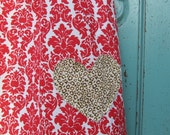Free US Shipping, SALE, 4T, Valentine's Day peasant dress, Red Damask and leopard print, Summer dress, toddler, Bohemian dress