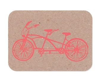 Tandem Bicycle Kraft Postcards
