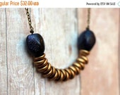 October Sale Boho Rustic Necklace, Blue Goldstone and Gold Glass Disc Beads, Blue Glitter, Antiqued Brass, Bohemian