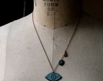 October Sale Eye Amulet Pendant, Evil Eye, All-Seeing Eye Necklace, Third Eye, Eye Symbol, Egyptian Mythology, Green Verdigris, Copper Patin