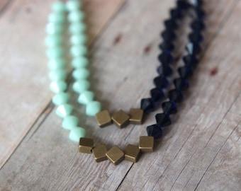 Mint Indigo Blue Necklace  Swarovski Crystal Statement Piece  Double Strand  Antiqued Brass  Wedding  Gift Box