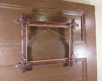 "Nice old handmade wood carved Victorian ""tramp art"" style frame , very nice frame with corner carvings and interior gold trim"