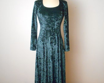 vintage JUMPING JOY Dark Green Crushed Velvet Fitted Midi Dress Fits Size XS