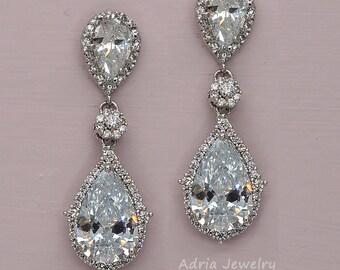 Teardrop Crystal Bridal Earrings Rhinestone Wedding Earrings cubic zirconia Bridal Jewelry White Gold Wedding Earrings for Brides