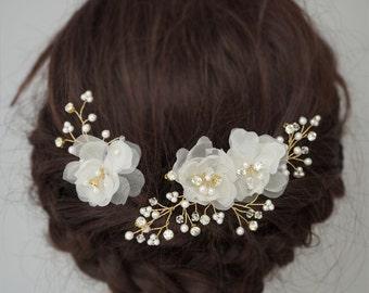 Bridal Headpieces Sets Wedding Hair Combs Hair Pins Silk Flower Bridal Hair Pieces Crystals Wedding Hair Vines baby's breath
