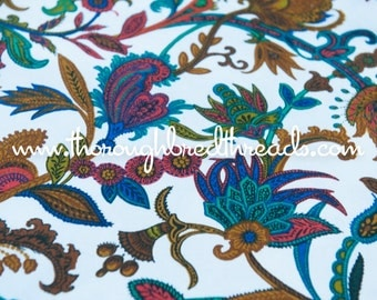 Stylized Paisley and Floral- Vintage Apparel Fabric 60s 70s New Old Stock