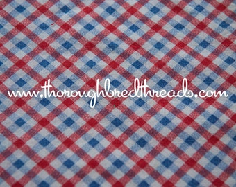 Red White and Blue Plaid - Vintage Fabric Full Feedsack 50s 60s Novelty