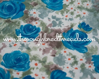 Bold Blue Roses  - Vintage Fabric 36 inches wide New Old Stock Wonderful Daisies